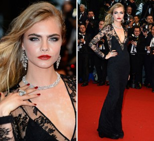 Cara Delevingne Burberry dress cannes