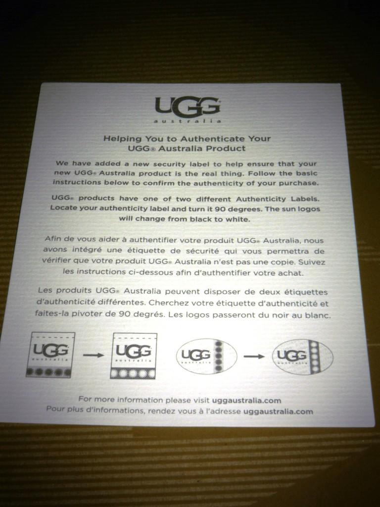 UGG Australia_certificat