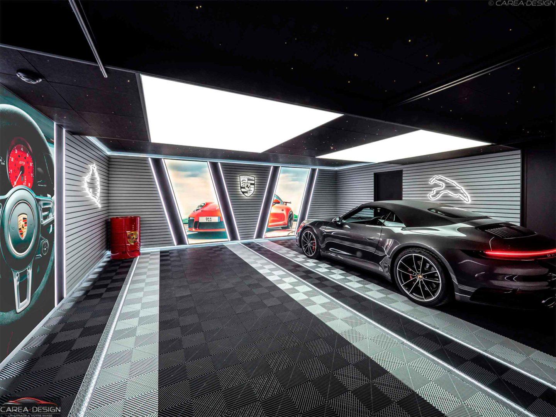 carea design garage voiture luxe realisation garage sur mesure porsche