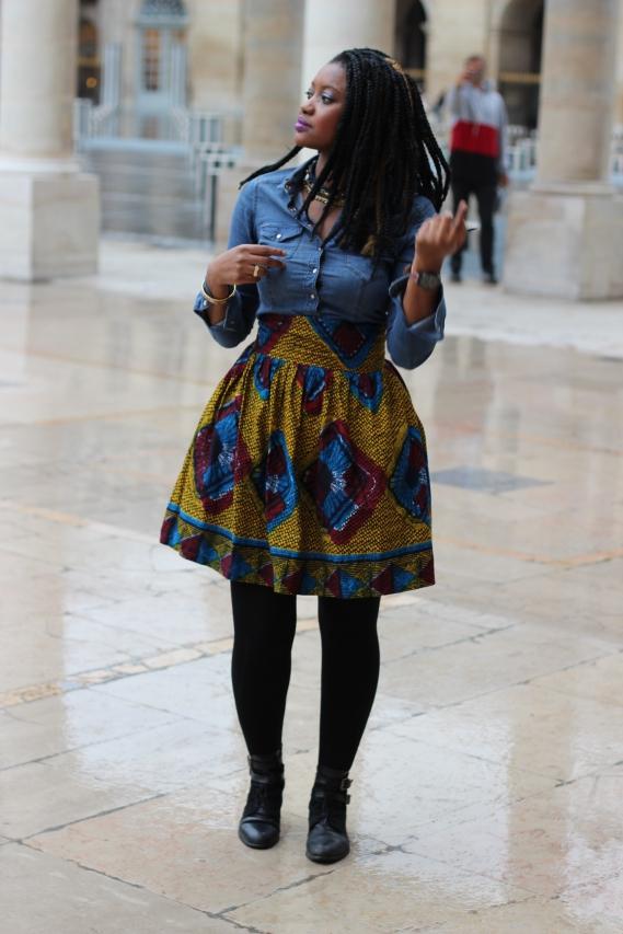 jupe-wax-chemise-denim-turbanista-paris_01 Rétrospective de mes looks 2015