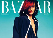 Liya Kebede en Gucci pour la couv' d'Harper's Bazaar Spain