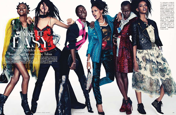 models_Vogue_Germany_September_2012-01 Cora Emmanuel, Grace Bol, Grace Mahary, Jasmine Tookes, Jeneil Williams & Zuri Tibby pour Vogue Germany Septembre 2012