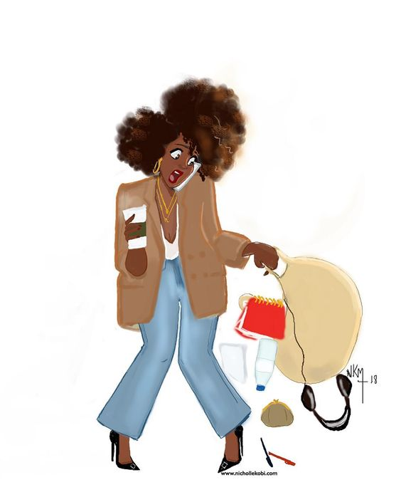 nichollekobi illustration working girl busy life