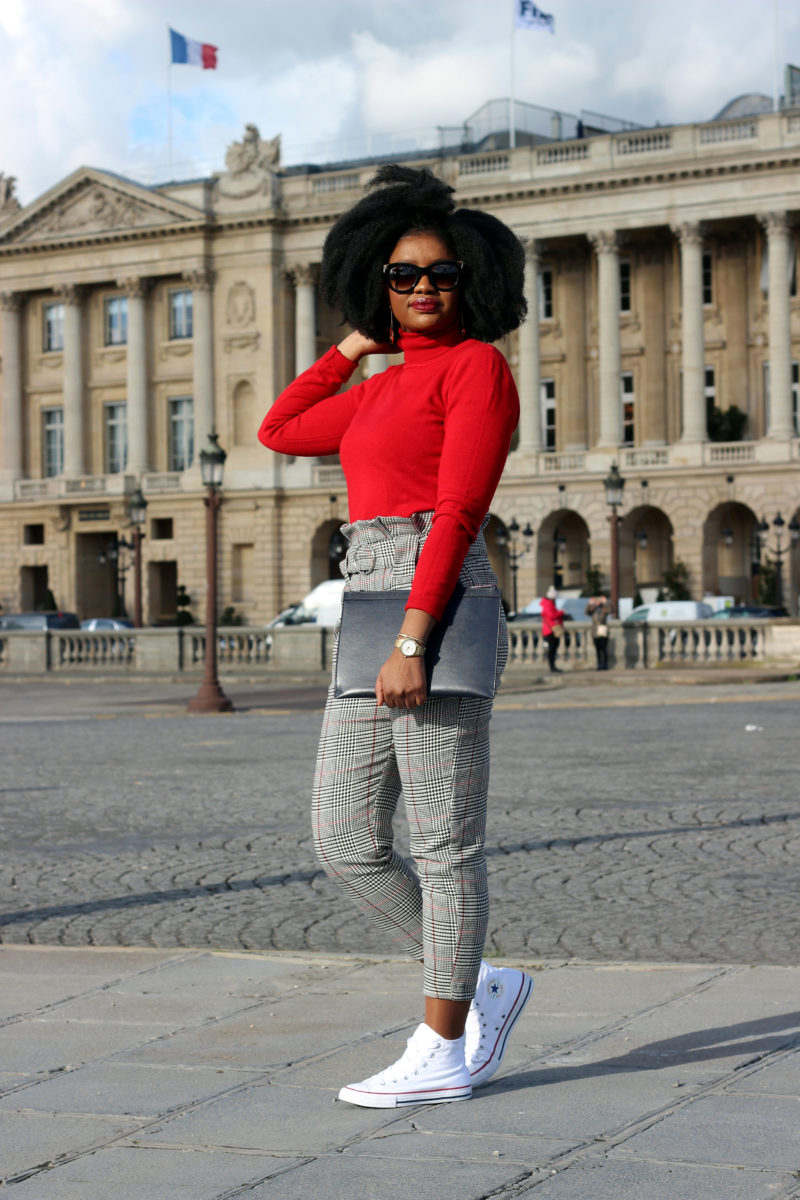 pantalon carotte saint valentin rouge paris