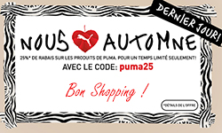PUMA : Bon plan shopping d'automne 25% de réduction