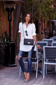 tendance chemises printemps denim white shirt volant epaules off the shoulders