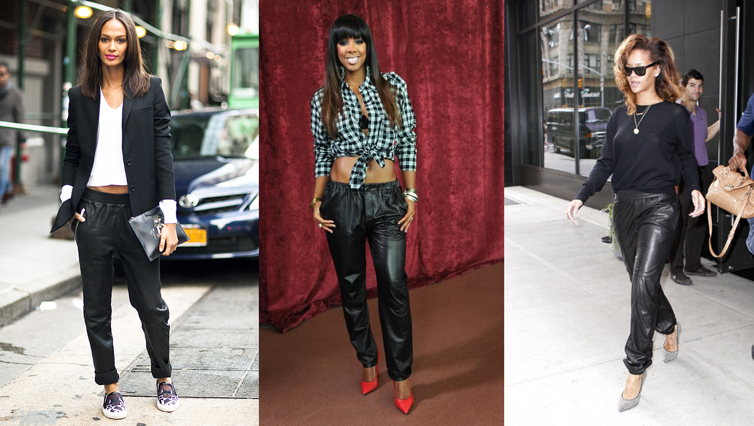 tendance pantalon jogging cuir kelly rowland rihanna joan smalls