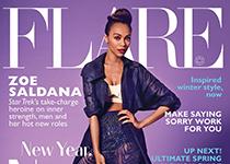 Zoe Saldana en Jean Paul Gaultier pour FLARE Magazine